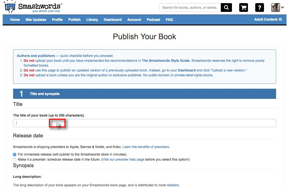 how to publish an ebook cookbook